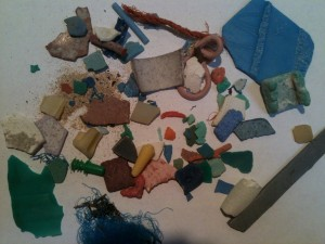 Plastic pollution found on the beach in Easter Island